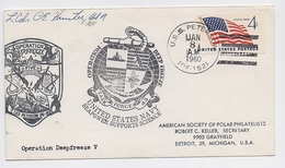 ANTARCTIC South Pole Mail Cover Polar Ship USA Deep Freeze Signature - Basi Scientifiche