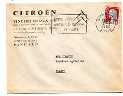 """58 - NIEVRE / Enveloppe Entete """" Automobiles CITROEN - Garage Du Parc VINCENT """" à NEVERS / - Poststempel (Briefe)"""