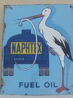 PLAQUE EN TOLE  50 X40 CM SIGNE ..NAPHTEX FUEL OIL - Gas, Garage, Oil