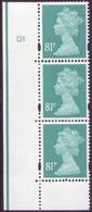 GB 81p Turquoise Machin In Vertical Cylinder Strip Of 3  SG Y1739 UM/MNH - - 1952-.... (Elizabeth II)