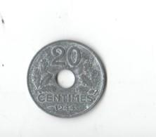 .20 Cts ZINC . 1944.  LA PLUS RARE DE LA SERIE - Frankrijk
