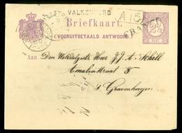BRIEFKAART VOORDRUK 2 1/2 Ct Nvph Nr 33 GELOPEN IN 1880 Van LANGSTEMPEL VALKENBURG + FRANCO Naar DEN HAAG (11.449k) - Postal Stationery