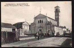 TERRANOVA MONFERRATO: Belle Vue éclairée Et Animée Devant L'Eglise Paroissiale - Alessandria