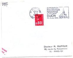 COTE D'OR - Dépt N° 21 = DIJON GARE 1976 = FLAMME Sur ENVELOPP = SECAP Illustrée 'Exposition Philatélique St Philibert ' - Marcophilie (Lettres)