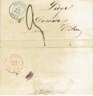 LAC NON AFFRANCHIE De BRUXELLES 9/10/1853 Vers LIEGE  H. DESSAIN éditeur-imprimeur -cachet DE CALAIS Librairie BRUXELLES - Belgique