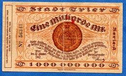Stadt Trier -- 1 Milliarden  Mark  -  20/9/1923   -  état  TB -  Plis Central - [11] Emisiones Locales