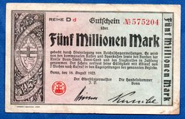 Stadt Bonn -- 5 Millionen  Mark  -  18/8/1923   -  état  TB+ - - [11] Local Banknote Issues