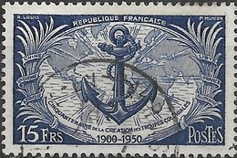 FRANCE 1951 50th Anniv Of Formation Of Colonial Troops - 15f Anchor And Map  FU - Usati