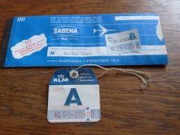 Billet Aviation Sabena Amsterdam Brussels 1972 + Ticket Bagage KLM - Billets D'embarquement D'avion