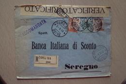 STORIA POSTALE RACCOMANDATA CON PERFINS DELLA BANCA ITALIANA DI SCONTO DA COMO 1918 PER SEREGNO MILANO - Storia Postale
