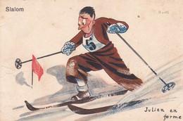 Sports D'Hiver . Illust. R. LIPS . Slalom ( Skieur Au Brassard N°5) - Illustratori & Fotografie