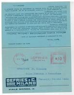 Cartolina Commerciale Milano - Formato Doppio - Defries Macchine Utensili Attrezzi - Metallo Bianco Antifrizione Stella - Milano