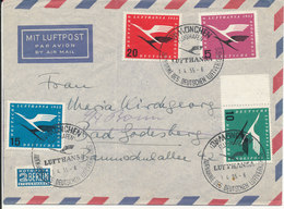 Germany Air Mail Cover With Complete Set Lufthansa München 1-4-1955 (the Cover Is Bended) - [7] Federal Republic