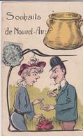 Souhaits De Nouvel -An   : Femme Donnant De L'argent à  Un Homme  (signée :  Mini-tête Ronde + 66) - 1900-1949