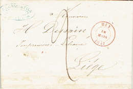 LAC 18/03/1847 De HUY Vers LIEGE H. DESSAIN Imprimeur-éditeur - Port 2 Décimes -cachet J.L. GODIN & FILS Papetiers à HUY - 1830-1849 (Belgique Indépendante)