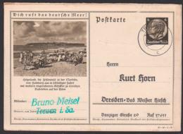 """Bildpostkarte P236 37-90-1-B2 Düne Meeresstrand Urlauber """"Dich Ruft Das Deutsche Meer!"""" Treuen - Postwaardestukken"""