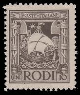 """ITALIA - Isole Egeo: EMISSIONI GENERALI - Serie """"Pittorica"""" - 10 C. Bruno (dent. 11) - 1929 - Levant"""