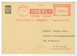 Cartolina Commerciale Milano - Hoepli Editore Libraio - Invio Libro Watson - Textile Design And Colour - Milano