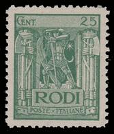 """ITALIA - Isole Egeo: EMISSIONI GENERALI - Serie """"Pittorica"""" - 25 C. Verde (dent. 11) - 1929 - Levant"""