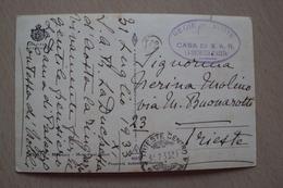 STORIA POSTALE CARTOLINA DALLA CASA DI SUA ALTEZZA REALE LA DUCHESSA D'AOSTA MIRAMARE DA E PER TRIESTE 1933 - 1900-44 Victor Emmanuel III.