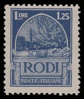 "ITALIA - Isole Egeo: EMISSIONI GENERALI - Serie ""Pittorica"" - Lire 1,25 Azzurro (dent. 11) - 1929 - Levant"