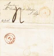 LAC De LOUVAIN Du 27/10/1847 Vers LIEGE  H. DESSAIN Editeur-imprimeur - Port De 4 Décimes - Signé ICKX Et GEETS - 1830-1849 (Belgique Indépendante)