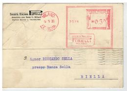 Cartolina Commerciale Milano - Società Italia Pirelli - Autografo Del Direttore Agenzia Zone Varie All'industriale Sella - Milano