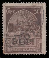 """ITALIA - Isole Egeo: EMISSIONI GENERALI - Serie """"Pittorica"""" - 50 C. Bruno Scuro (dent. 14) - 1932 (usato) - Levant"""