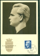 CM-Carte Maximum Card # 1955-Monaco # Célébrités,Dynastie,Royalty # S.A.S  RAINIER III ,Prince De Monaco ( 12 Fr.bleu) - Maximum Cards