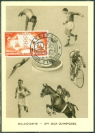 CM-Carte Maximum Card # 1956-Monaco # Sport # J.O. D´Été # Sommer Olympiade, Summer Olympic  Games  Melbourne - Cartoline Maximum