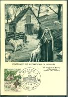 CM-Carte Maximum Card # 1958-Monaco # Religion # Loudes # Marian Apparition  # Sainte Bernadette - Bergerie De Bartrés - Cartas Máxima