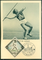 CM-Carte Maximum Card # 1960-Monaco #Sport #Jeux Olympiques,Summer Olympic Games Rome # Javelot,Speerwerfen,javelin - Cartas Máxima