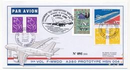 FRANCE => AIRBUS A 380 - Premier Vol Prototype MSN 004 - Toulouse Blagnac  / VIGNETTE MURET 18.10.2005 - First Flight Covers