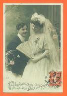 """CPA Noces """" Félicitations Les Plus Sincères """" JCP 26 - éventail - Marriages"""