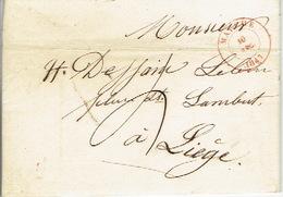 LAC De MARCHE Du 10/12/1847 Vers LIEGE  H. DESSAIN Imprimeur - Signé DANLOY De FEIGNIES éditeur-imprimeur à MARCHE - 1830-1849 (Onafhankelijk België)