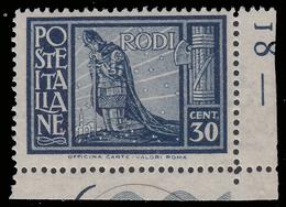 """ITALIA - Isole Egeo: EMISSIONI GENERALI - Serie """"Pittorica"""" - 30 C. Azzurro Scuro (dent. 14 / Angolo Di Foglio) - 1932 - Levant"""