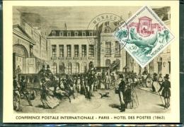 CM-Carte Maximum Card # 1963-Monaco #  Conférence Postale Internationale -Paris -Hotel Des Postes 1863 - Maximumkaarten