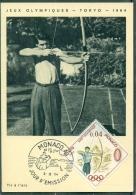 CM-Carte Maximum Card # 1964-Monaco # Sport # Summer  Olympic Games Tokio #  Archer, Bogenschütze,archer,bowman - Cartes-Maximum (CM)