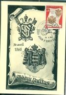 CM-Carte Maximum Card # 1968-Monaco #  Religion # Armoirie, Blason ,Wappen, Coat Of Arms - Abbaye Dullius ,Abtei ,Abbey - Cartes-Maximum (CM)