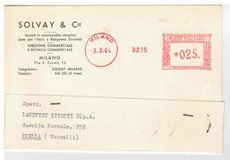 Cartolina Commerciale Milano - Solvay & C. Sede Per L'Italia A Rosignano - Milano