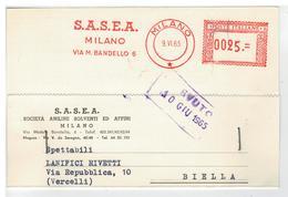 Cartolina Commerciale Milano - S.A.S.E.A. Società Aniline Solventi Ed Affini - Milano