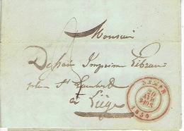 LAC De NAMUR Du 29/04/1850 NON AFFRANCHIE Vers LIEGE  H. DESSAIN Imprimeur -cachet TREPAGNE-DE ROISIN Libraire-imprimeur - Belgique