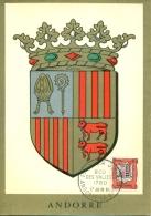 CM-Carte Maximum Card #1961-Andorre-Andorra # Héraldique-heraldry  # Armoiries,blasons,coat Of Arms,Wappen # Andorre - Cartes-Maximum (CM)