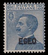 ITALIA - Isole Egeo: EMISSIONI GENERALI - Franc. D'Italia Del 1908 Soprastampato: 25 C. Azzurro - 1912 - Levant