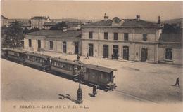Cpa ROMANS La Gare Et Le C.F.D.animée-réverbère Ancien - Romans Sur Isere