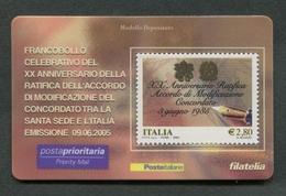 ITALIA 2005 - TESSERA FILATELICA - XX ANNIVERSARIO ACCORDO MODIFICAZIONE CONCORDATO SANTA SEDE ITALIA  - MNH**- 256 - 6. 1946-.. Republik