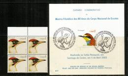 PORTUGAL:   Guêpier D'Europe,Pic Vert. Bloc De 4 + Sur Carte Oblitération Spéciale 2003 - Climbing Birds