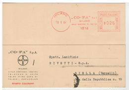 Cartolina Commerciale Milano - CO-FA S.p.A. Bayer - Reparto Coloranti - Milano
