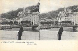 Le Dauphiné, Grenoble - Les Quais Sainte Marie - Carte Stéréoscopique LL N° 6 Dos Simple, Non Circulée - Stereoscopische Kaarten