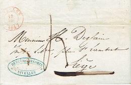 LAC De NIVELLES Du 12/12/1847 Vers LIEGE  H. DESSAIN Imprimeur- Très Beau Cachet De La Firme DEMEURS-DECORTE à NIVELLES - 1830-1849 (Belgique Indépendante)